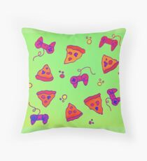 Pizza and Gaming Love Throw Pillow