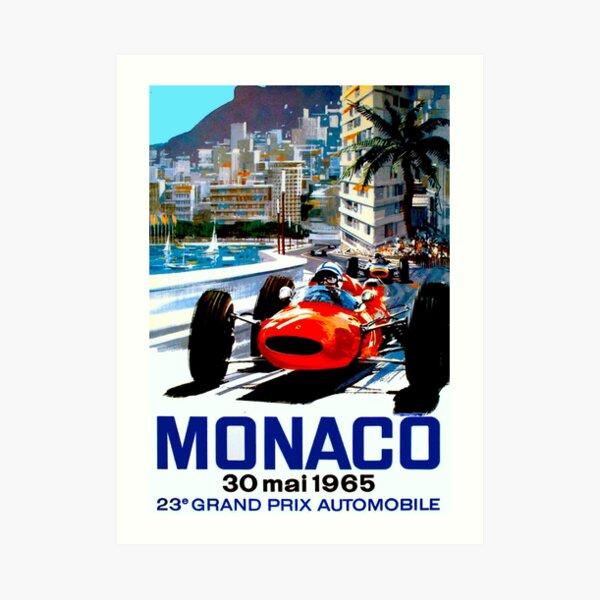"""MONACO GRAND PRIX"" Vintage Auto Racing Print Art Print"