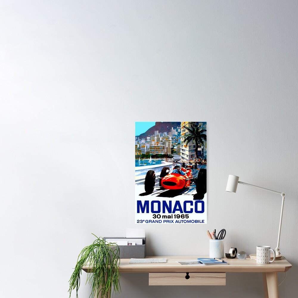 """MONACO GRAND PRIX"" Vintage Auto Racing Print Poster"