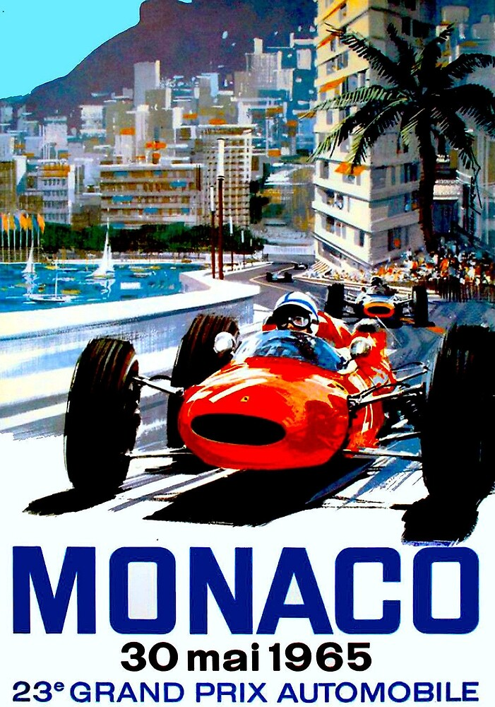 """MONACO GRAND PRIX"" Vintage Auto Racing Print by posterbobs"