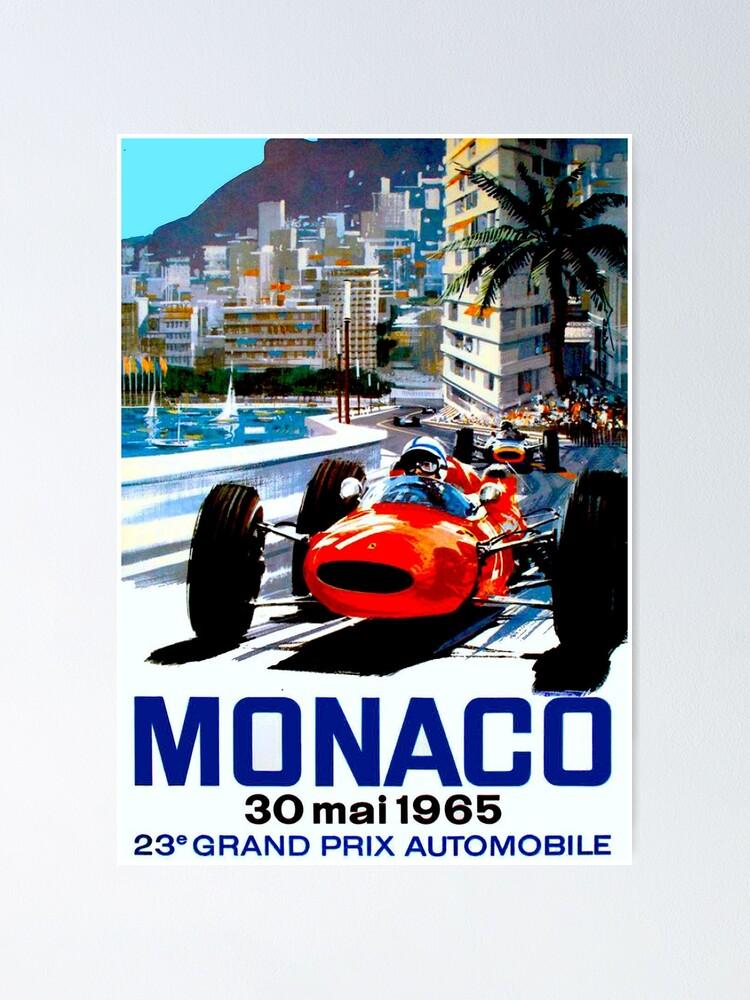 "Alternate view of ""MONACO GRAND PRIX"" Vintage Auto Racing Print Poster"