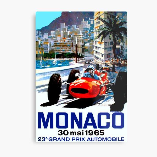 """MONACO GRAND PRIX"" Vintage Auto Racing Print Metal Print"