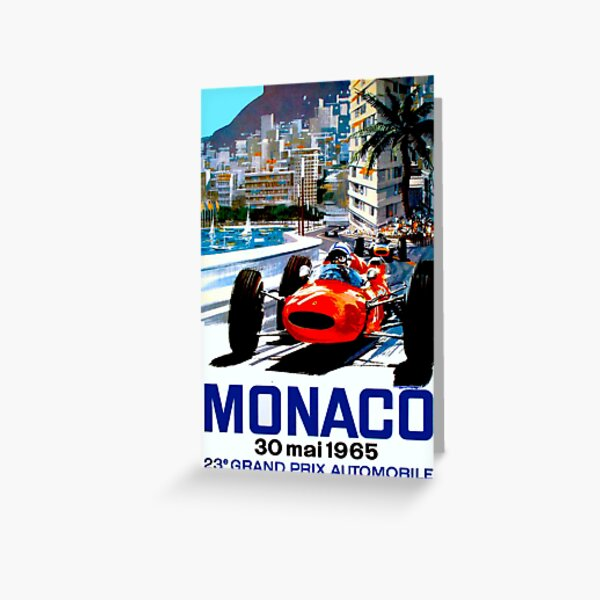 """MONACO GRAND PRIX"" Vintage Auto Racing Print Greeting Card"