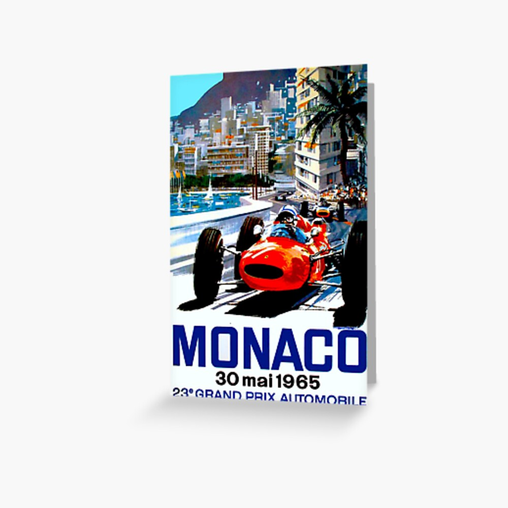 """MONACO GRAND PRIX"" Vintage Auto Racing Print Grußkarte"