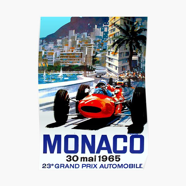 """MONACO GRAND PRIX"" Impression de course automobile vintage Poster"