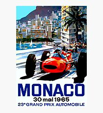 """MONACO GRAND PRIX"" Vintage Auto Racing Print Photographic Print"