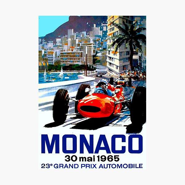 """""""MONACO GRAND PRIX"""" Vintage Auto Racing Print Photographic Print"""