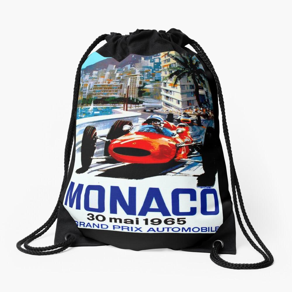 """MONACO GRAND PRIX"" Vintage Auto Racing Print Rucksackbeutel"