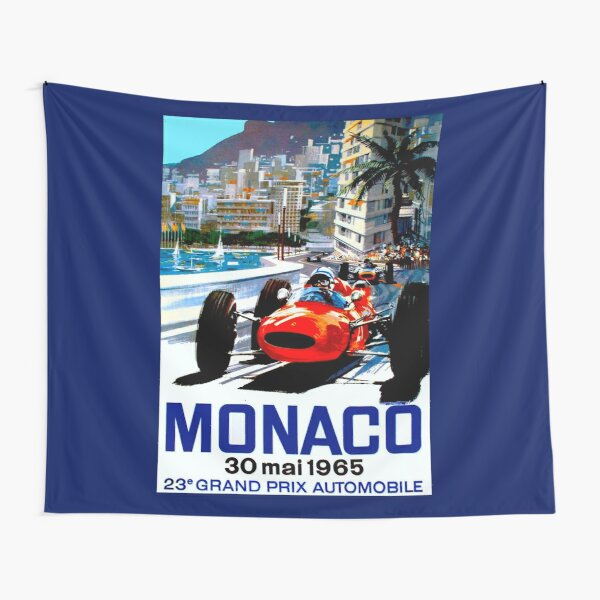 """MONACO GRAND PRIX"" Vintage Auto Racing Print Tapestry"