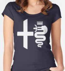 Alfa Romeo biscione/cross (white) Women's Fitted Scoop T-Shirt