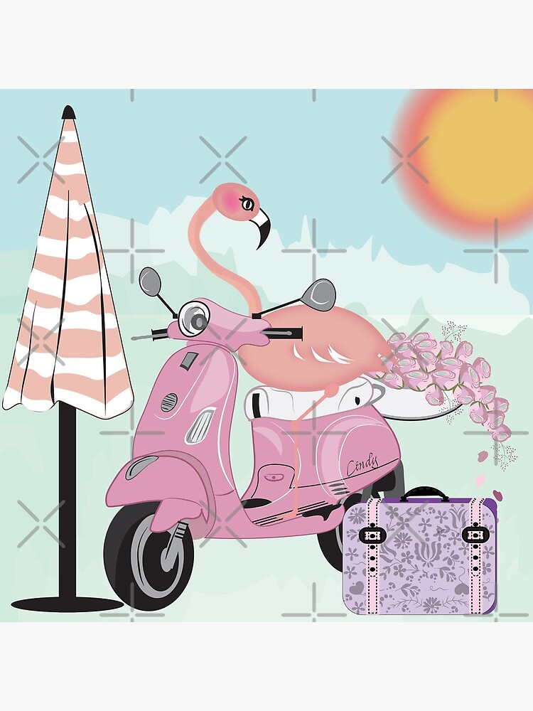 Flamingo Riding on Pink Daydreams by CreativeContour