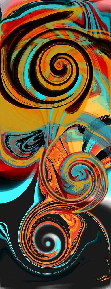 Abstract Swirls Design in Orange, Aqua, and Black by Jessielee72