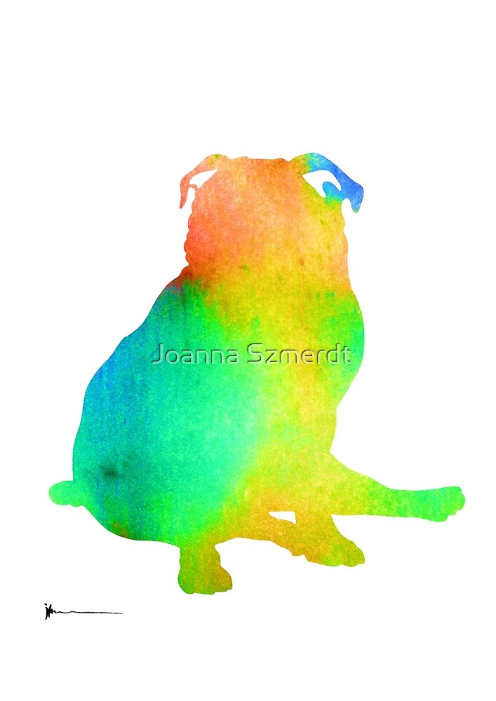Pug dog silhouette wall art watercolor painting by Joanna Szmerdt