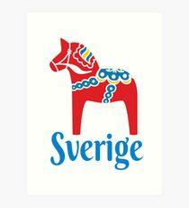Sverige Dala Dalarna Sweden Pferd Dalecarlian Schwedisch Kunstdruck