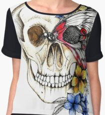 Skull with Indian butterfly and indigenous flora Women's Chiffon Top