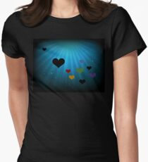 Heart Rays in Blue and Black T-Shirt