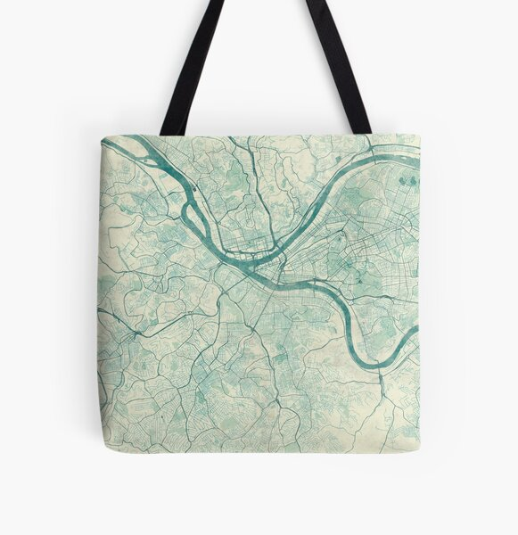 Pittsburgh Map Blue Vintage All Over Print Tote Bag
