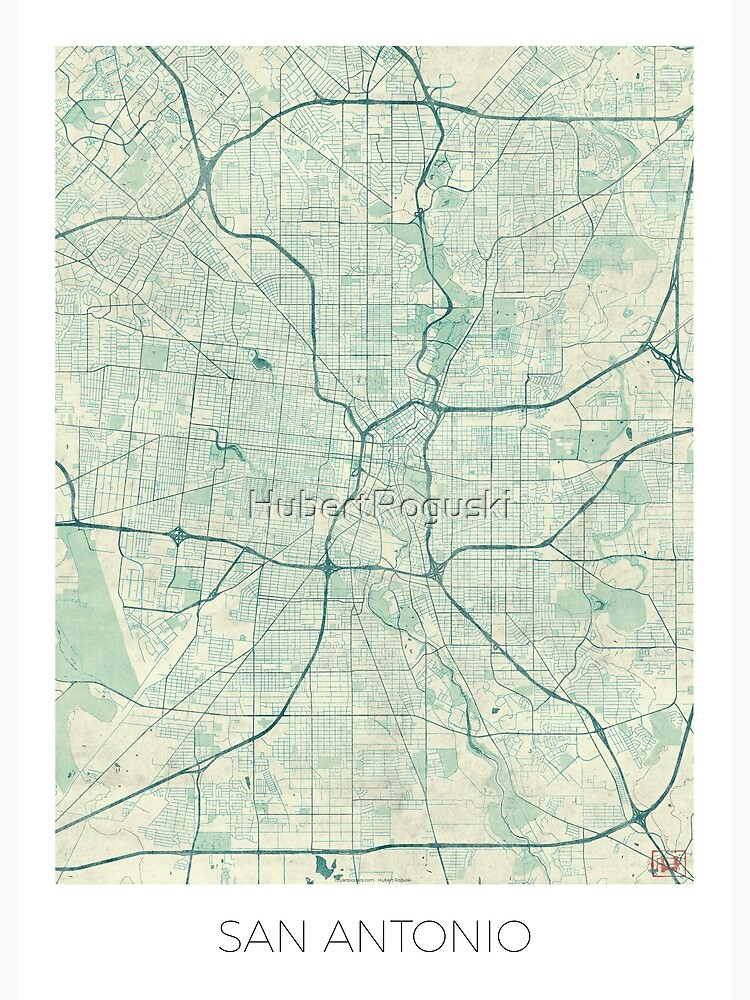 San Antonio Map Blue Vintage by HubertRoguski