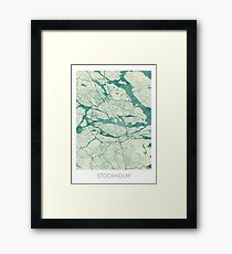 Stockholm Map Blue Vintage Framed Print