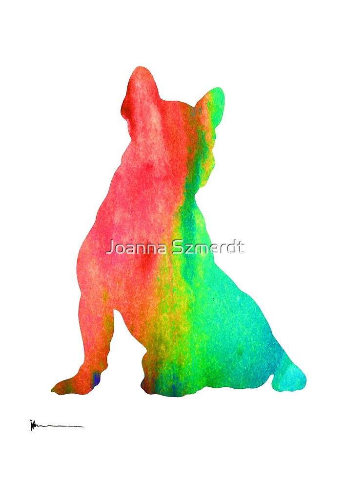 French bulldog design silhouette large poster by Joanna Szmerdt