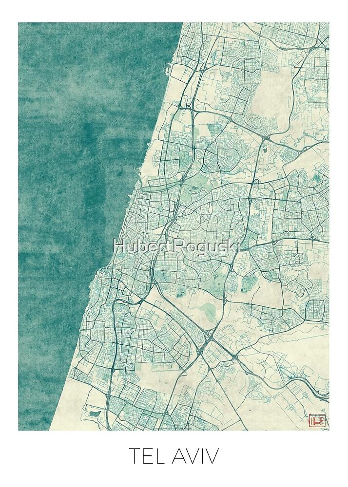 Tel Aviv Map Blue Vintage by HubertRoguski