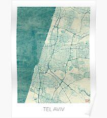 Tel Aviv Map Blue Vintage Poster