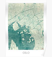Oslo Map Blue Vintage Poster