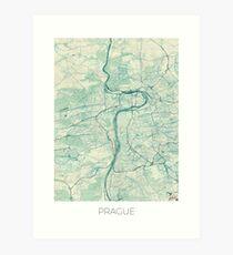 Prague Map Blue Vintage Art Print