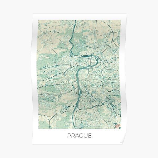 Prague Map Blue Vintage Poster