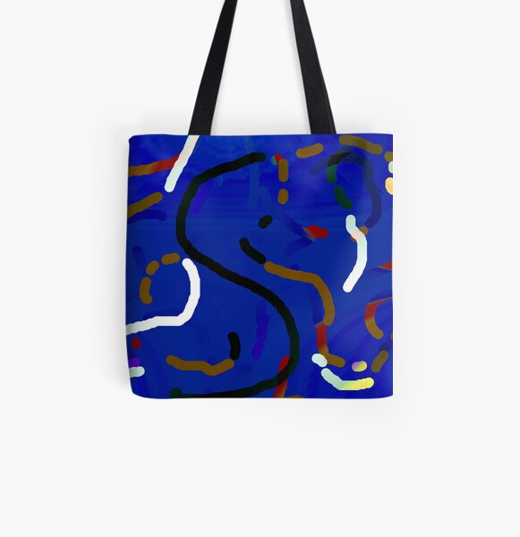 Blue worms Allover-Print Tote Bag