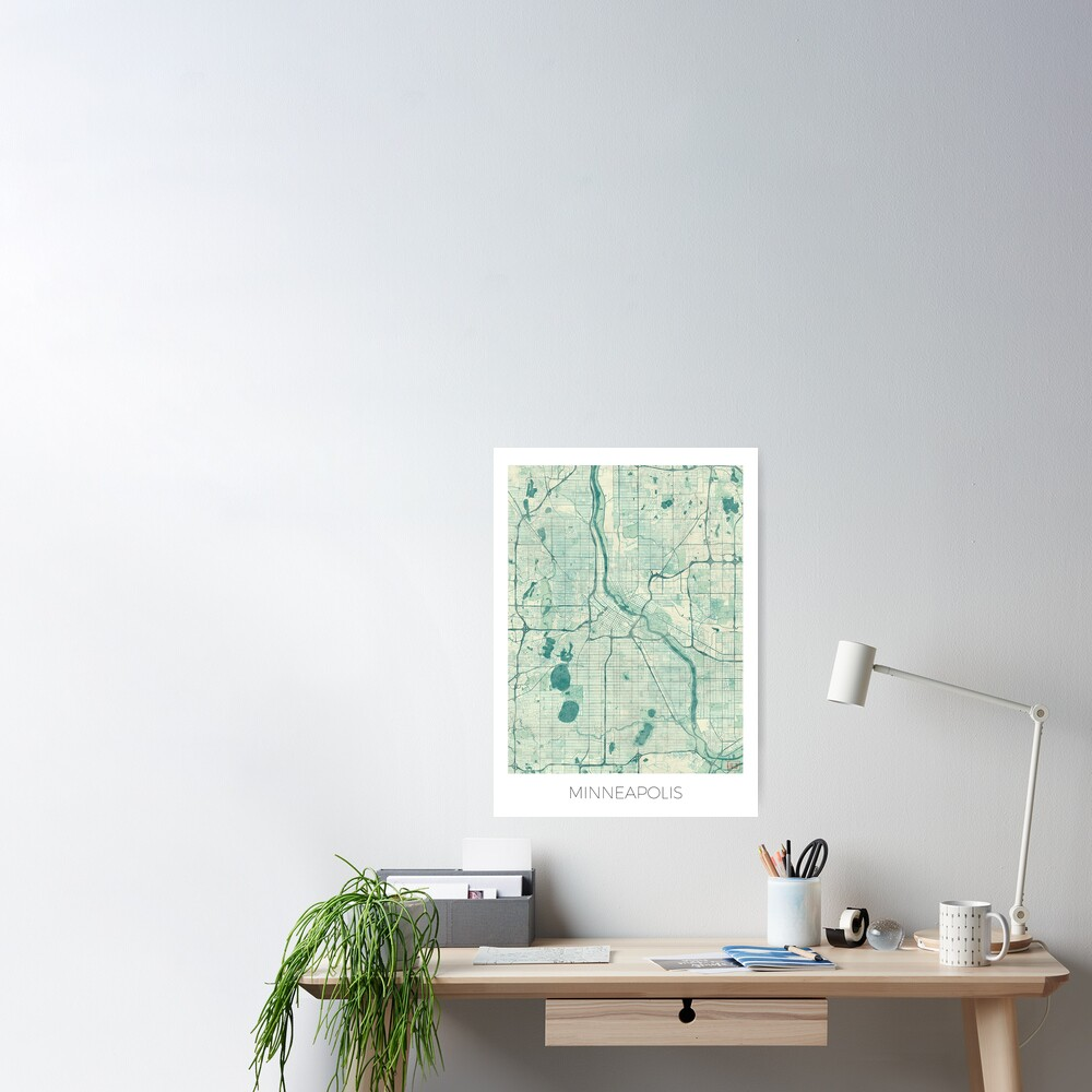 Minneapolis Map Blue Vintage Poster