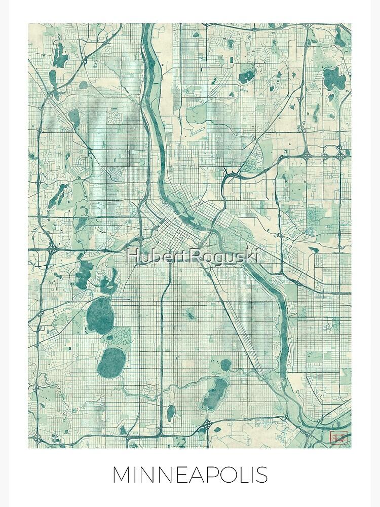 Minneapolis Map Blue Vintage by HubertRoguski