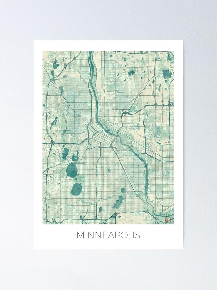 Alternate view of Minneapolis Map Blue Vintage Poster