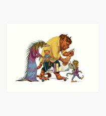 Monster Family Market Art Print