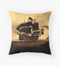 Tick tock the croc & Jolly Roger Throw Pillow