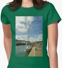 Yacht and Boats Alongside Newlyn Pier Womens Fitted T-Shirt