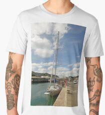 Yacht and Boats Alongside Newlyn Pier Men's Premium T-Shirt