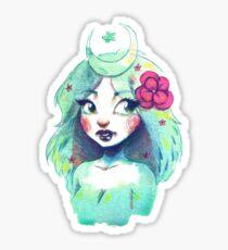 Green Moon Girl Sticker