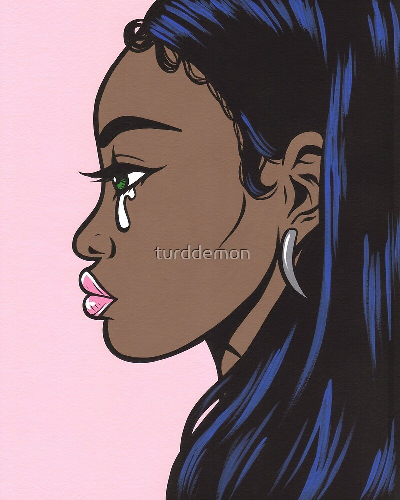 African American Sad Crying Comic Girl by turddemon
