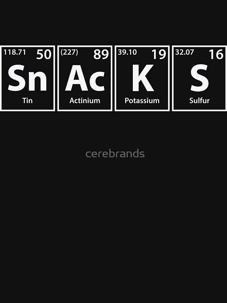 Snacks (Sn-Ac-K-S) Periodic Elements Spelling by cerebrands