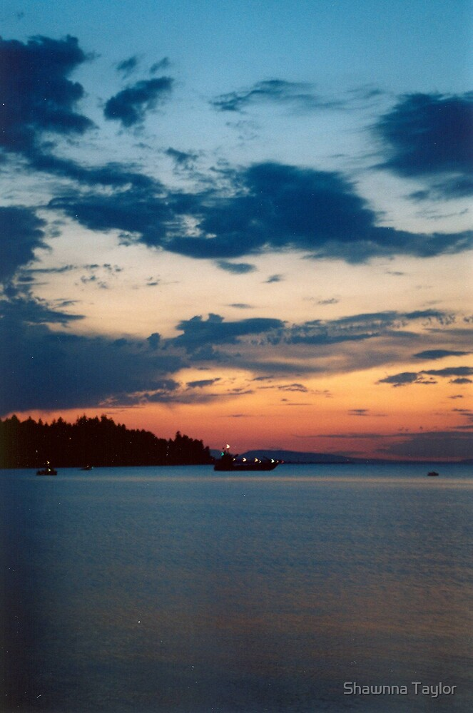 Parksville Sunset Ship In The Midst Of The Sea by Shawnna Taylor