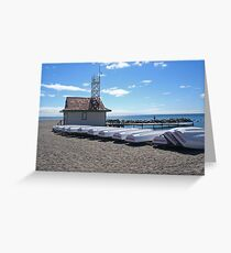 Boats on a beach Greeting Card