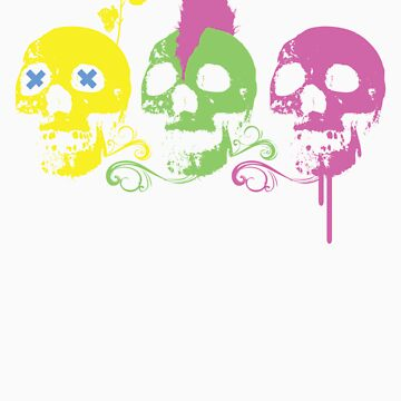 Punk Colourful Skulls with a Flower by enclothing