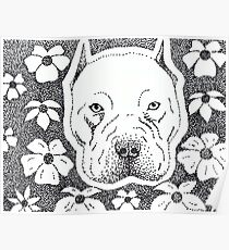 Pit bull & Flowers Poster