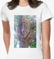 Kittens on a tree. Womens Fitted T-Shirt