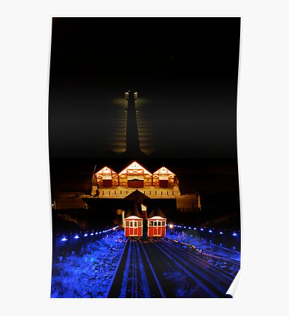 Saltburn cliff lift, and pier. Poster
