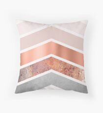 Blush and Rose Gold Chevrons Throw Pillow