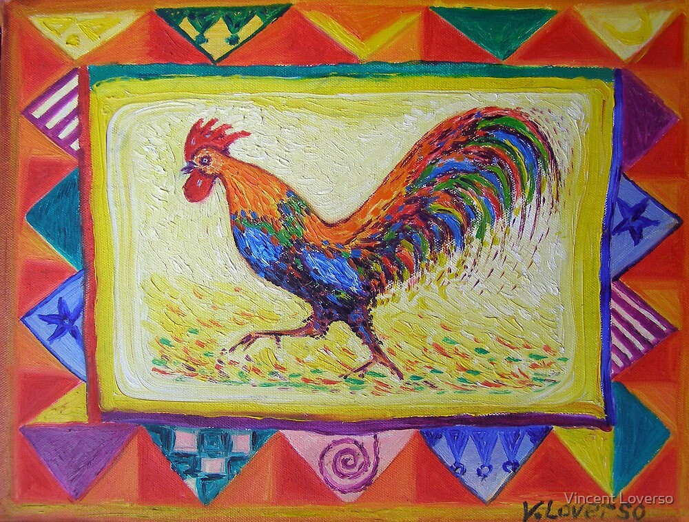 I Am The Little Red And Blue  Rooster                             by Vincent Loverso