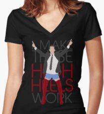 I MAKE THESE HIGH HEELS WORK-Kinky Boots Brendon Urie Women's Fitted V-Neck T-Shirt