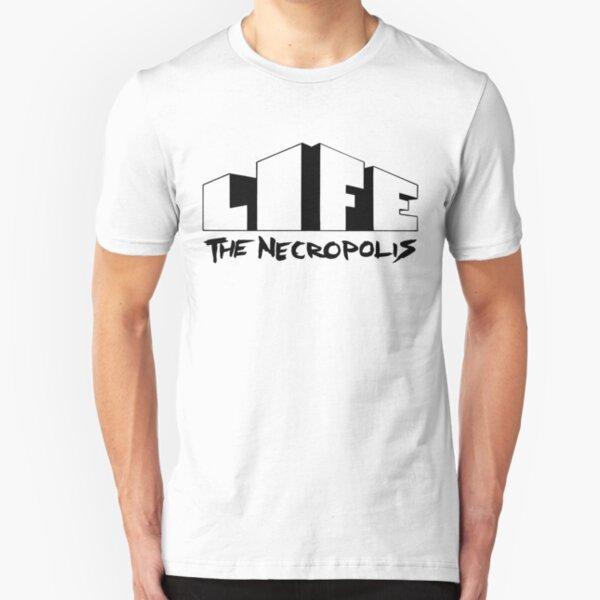 Life The Necropolis Logo White.  Slim Fit T-Shirt